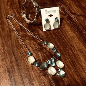 Trifari 3-Piece Turquoise Jewelry Set